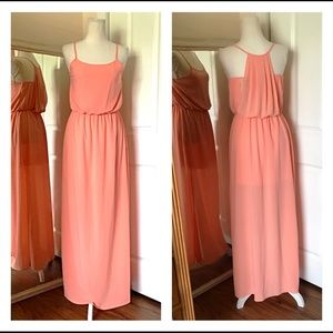 NWT med GB peach sheer long spaghetti strap dress